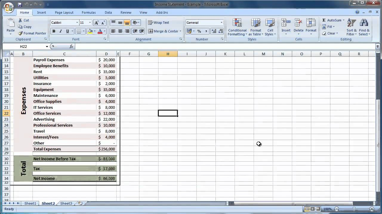 Excel 2007 How to Create an Income Statement Guide - Level 1 - YouTube