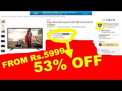 Televisions 53% OFF at Amazon Rock Bottom Prices Sale starting from Rs.5999. Amazon Deal of the Day