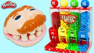 Feeding Mr. Play Doh Head from M&M Candy Dispenser & Surprise Toys Opening!