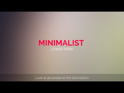 MInimalist Lower Third (After Effects Template)