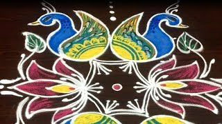 Latest peacock rangoli design for Dasara special || Navarathri muggulu with 7 dots ||