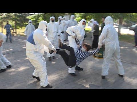 Kazakh Police Detain Protesters, Place Them In Quarantine