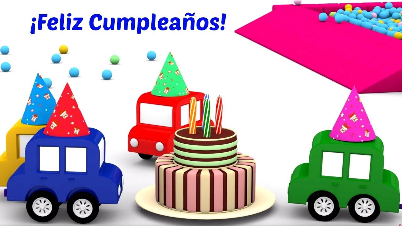 4 coches coloreados feliz cumplea os dibujos animados - Feliz cumpleanos infantil animado ...