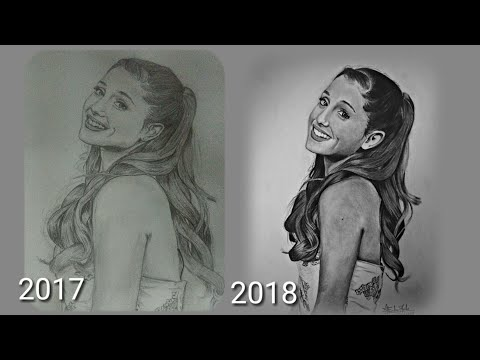 My drawing progress in 1 Year | Realism portrait drawing of Ariana Grande |