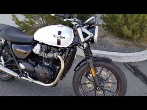 2018 triumph street twin crystal white youtube. Black Bedroom Furniture Sets. Home Design Ideas