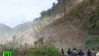 Moment massive landslide goes off in China caught on cam