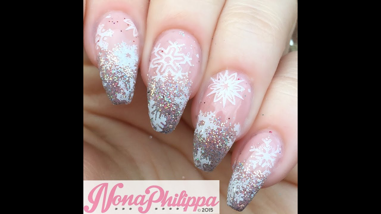 Snowflake Nail Art Tutorial: Snowflakes & Glitter Gradient Christmas Stamping Nail Art