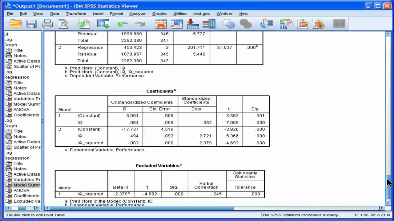 Hierarchical multiple regression spss output interpretation