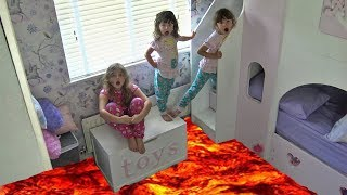 THE FLOOR IS LAVA CHALLENGE! PRETEND PLAYTIME with Sisters Family Fun video The Disney Toy Collector