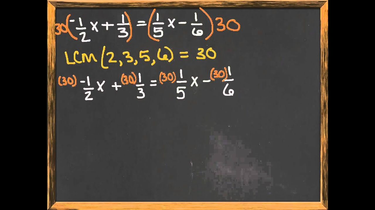 Solving Linear Equations with Fractional Coefficients YouTube – Solving Equations Involving Fractions Worksheet