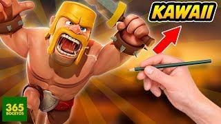COMO DIBUJAR AL BARBARO CLASH OF CLANS KAWAII - tutorial Clash Royale