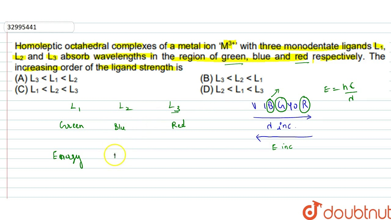 Homoleptic Octahedral Complexes Of A Metal Ion M 3 With Three Monodentate Ligands L 1 Youtube