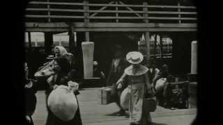 July 24, 1903 New York - Immigrants arriving at Ellis Island (Restored with added sound)