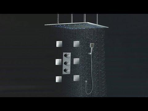 "Juno 24""LED Rain Shower Head Thermostatic Shower Valve Set"