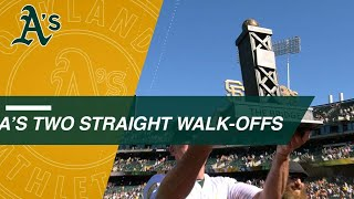 A's walk off in back-to-back games vs. Giants