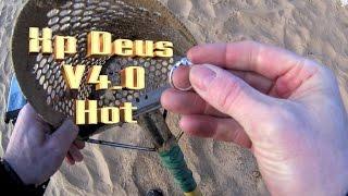 xp deus HOT mode beach metal detecting, ring in the scoop