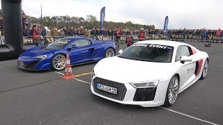 McLaren 675LT Spider vs Audi R8 V10 Plus vs Audi TT RS DRAG RACE!