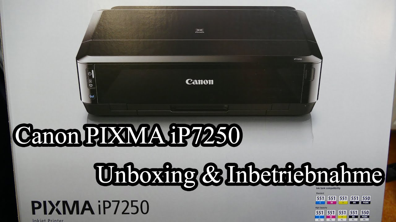 canon pixma ip7250 unboxing inbetriebnahme youtube. Black Bedroom Furniture Sets. Home Design Ideas