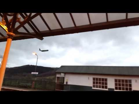 Low level flyby of Machynlleth railway station by a Hercules