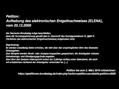 Petition: Aufhebung des elektronischen Entgeltnachweises (ELENA) vom 20.12.2009