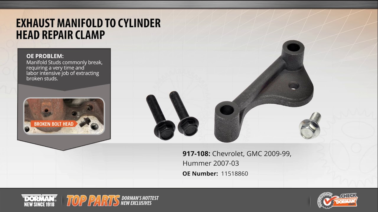 highlighted part exhaust manifold to cylinder head repair clamp for chevy gmc hummer models