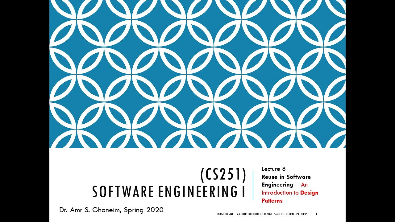 Cs251 Software Engineering 1 Lect 8 Reuse In Swe An Introduction To Design Patterns In Arabic Youtube