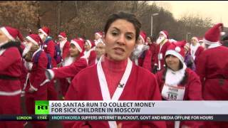 500 running Santas collect funds in Moscow