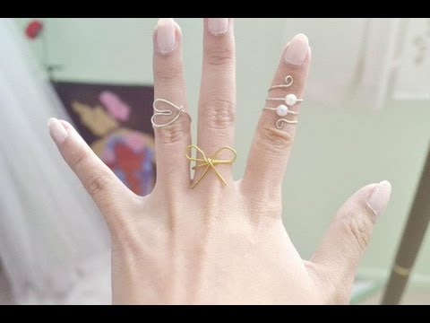 DIY 3 Wire Rings (Spiral, Bow, and Heart) - YouTube