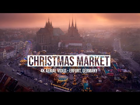 The Most Beautiful Christmas Market In Germany - 4K Aerial Video From Erfurt