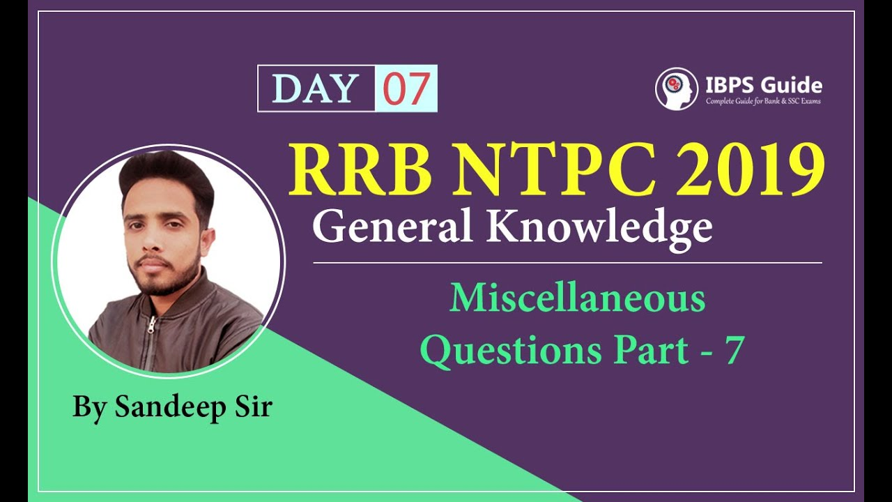 RRB NTPC 2019 Video General Knowledge | Miscellaneous