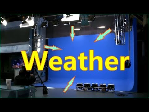TV weather forecast news studio set lighting for weather forecasting technology