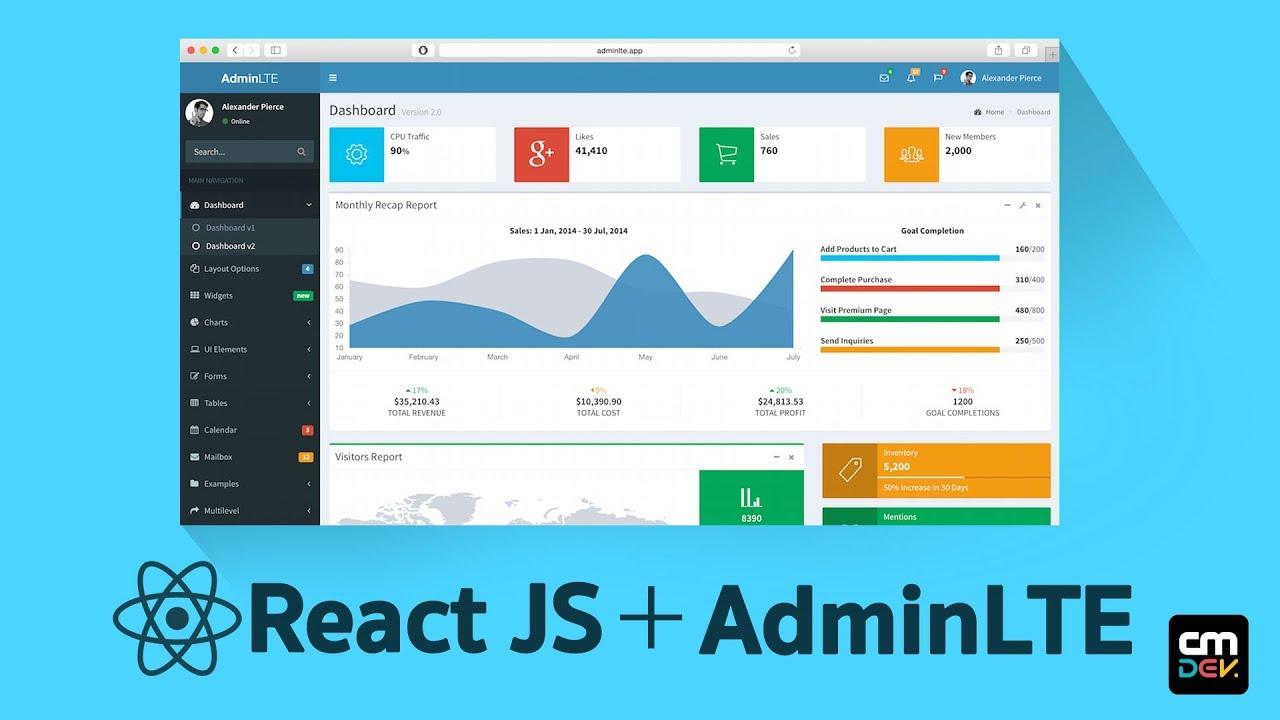React JS Tutorial : Integrate AdminLTE : Episode 1# (English)