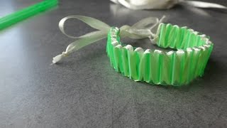 Tuto bracelet pailles et ruban - défis créa bull