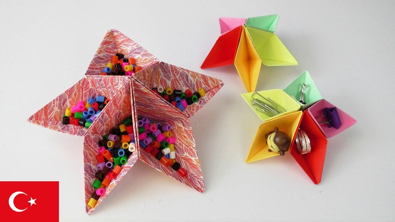 Yıldız Kutu Depolama Yapımı Kendin Yap Kolay Origami Projeleri