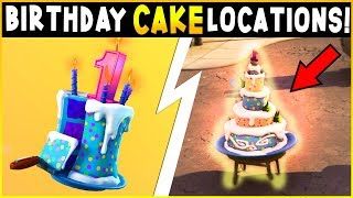 Fortnite - BIRTHDAY CAKE LOCATIONS & CHALLENGES GUIDE | Dance In Front Of Birthday Cakes