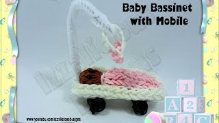 Rainbow Loom Baby Bassinet/crib/cot With Mobile Action Figure/charm - Gomitas