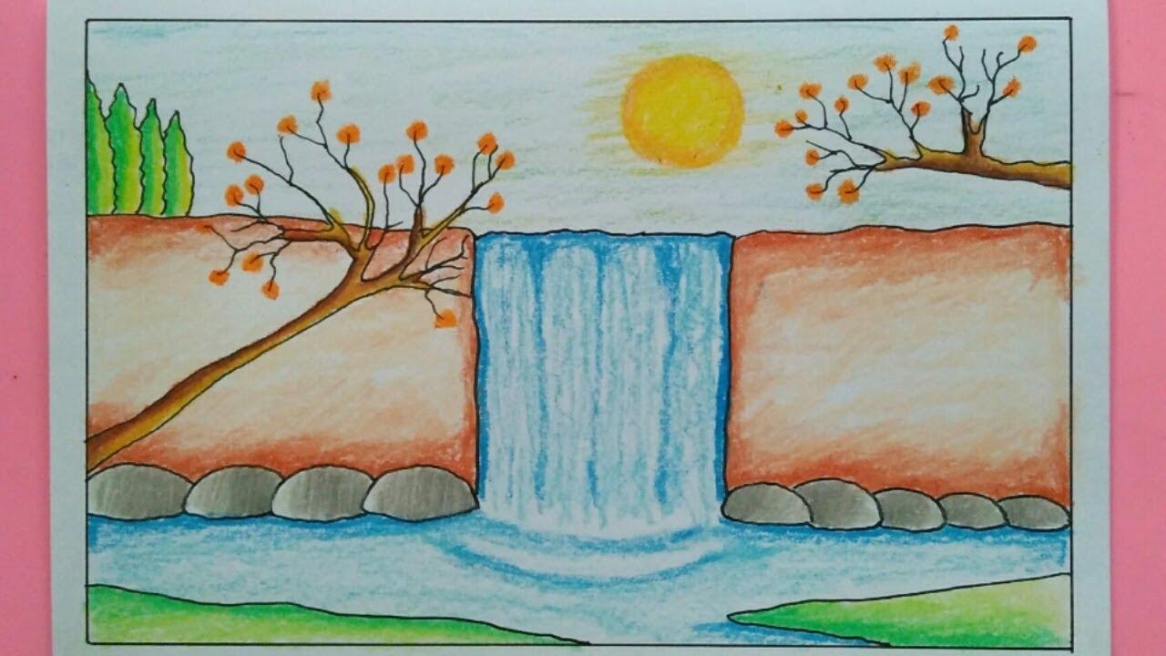 Cara Menggambar Pemandangan Air Terjun Yang Mudah Waterfall Scenery Drawing Youtube