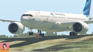 Garuda Indonesia Airbus A330 Landing to Paddy Field by Copilot || X-Plane 11