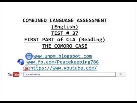 CLA TEST # 37 THE COMORO CASE, COMBINED LANGUAGE ASSESSMENT SECOND PART OF CLA (REPORT WRITING)