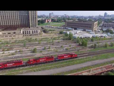 Michigan Central Station with Train (Drone Video)