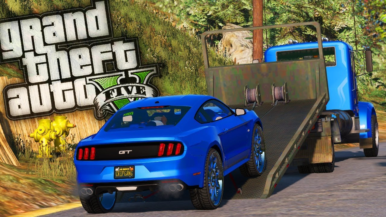 Flatbed Repo Towing A Crips Mustang Donk Gta 5 Real