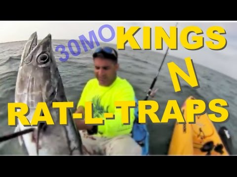 """KINGS & RAT-L-TRAPS"" offshore kayak fishing KING MACKEREL Corpus Christi Texas"
