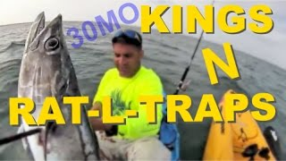 30milesOut.com~ OFFSHORE KAYAK FISHING - RAT-L-TRAP TROLLING for kingfish / redsnapper action