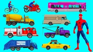 Learning Street Vehicles Names and Sounds with Spiderman for Kids. Car and Truck Compilation