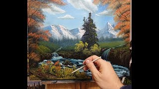 Mountain Horizon Falls - wet on wet - oil painting full lesson