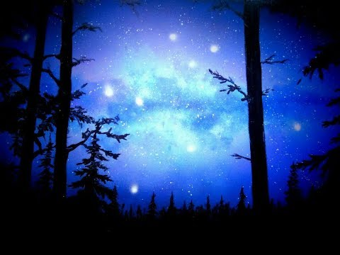 How to Paint a Simple Night Scene in the Forest . Spray Paint Art. by Antonipaints