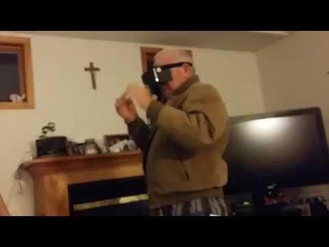 Grandpa rides a Virtual Rollercoaster
