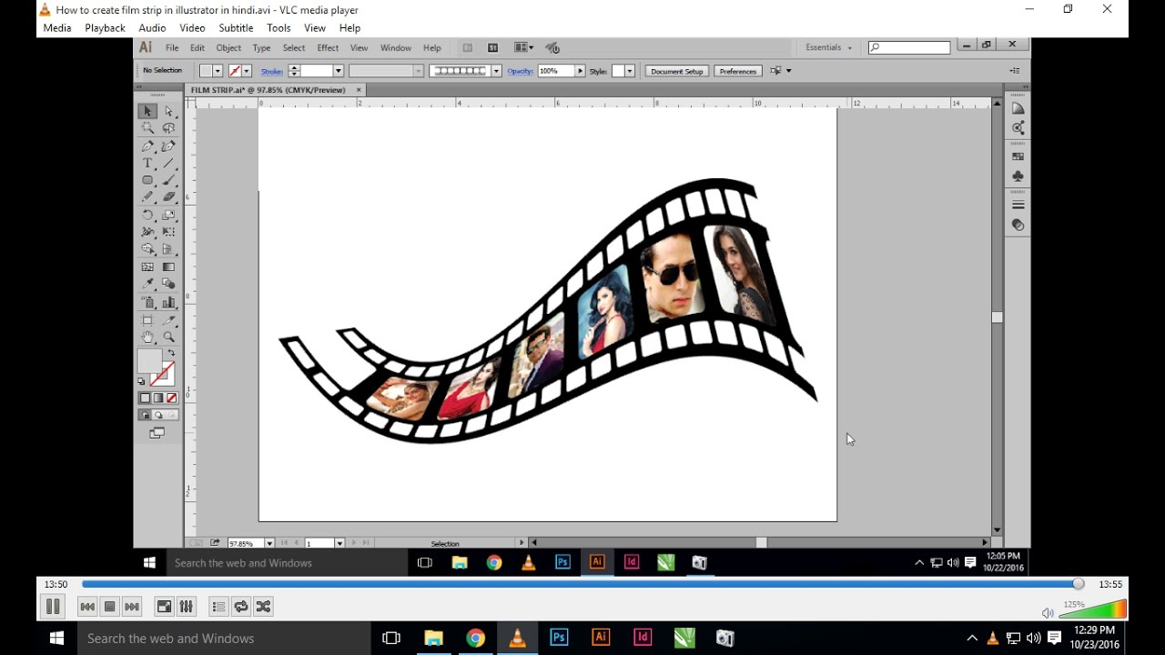 How to create film strip in illustrator in Hindi | How to ...