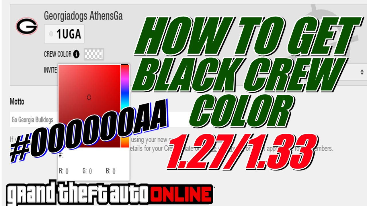 How To Get Black Crew Color In GTA Online 1.27/1.41 - YouTube