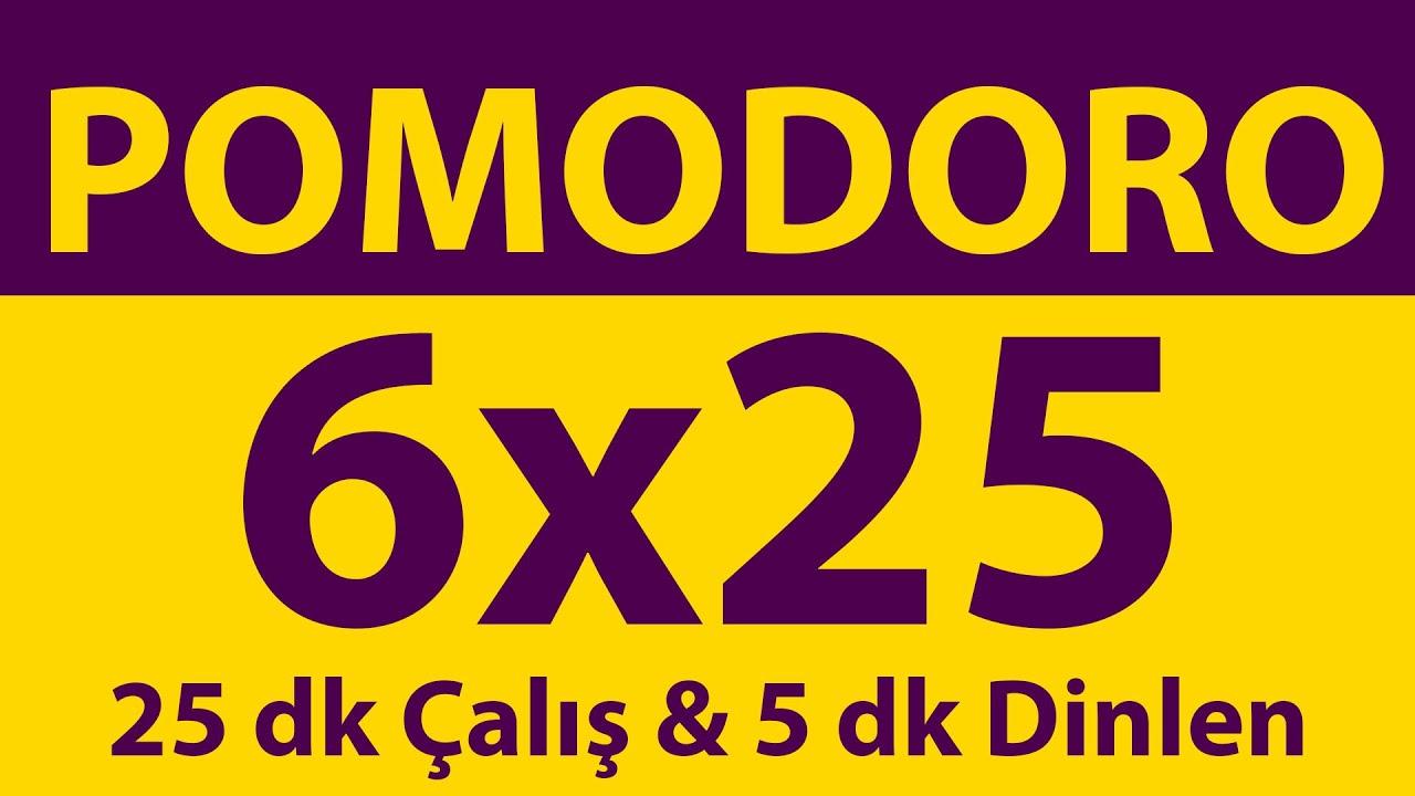 Pomodoro Tekniği | 6 x 25 Dakika | 25 dk Çalış & 5 dk Dinlen | Pomodoro Sayacı | Alarmlı | Müziksiz